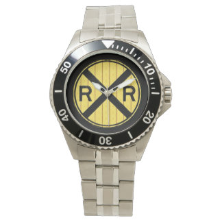 Wood Railroad Crossing Sign Wrist Watch