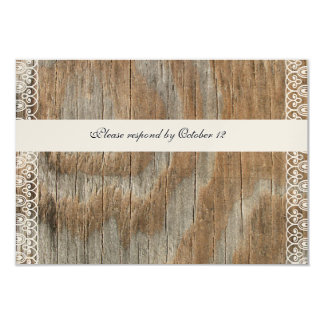 Wood Rings Shabby Lace rsvp with envelopes Card