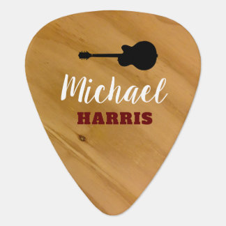 wood rustic guitar pick with handwritten name