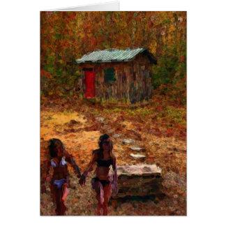 Wood Shack and Girls Greeting Card