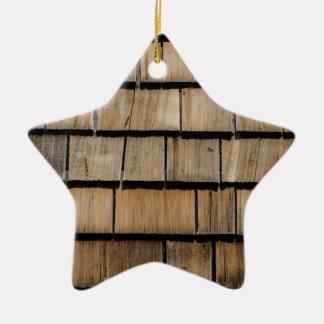 Wood shingle ceramic ornament