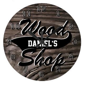 Wood Shop Personalize Large Clock