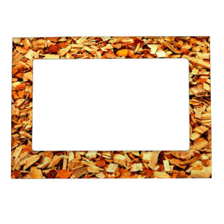 Wood Snippets with Autumn Leaves Magnetic Picture Frames
