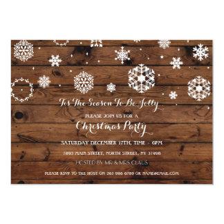 Wood Snow Christmas Party Xmas Holidays Invite