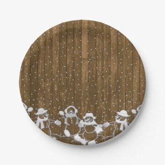 Wood Snowmen Paper Plates