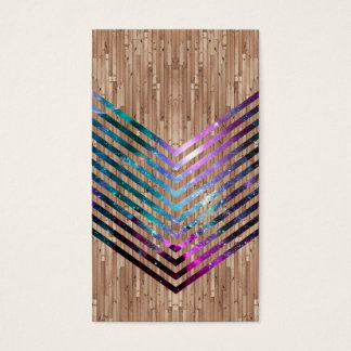 Wood space chevron business card