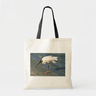 Wood Stork Feeds on the Shore Canvas Bag