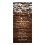 Wood string lights wedding programs custom rack cards