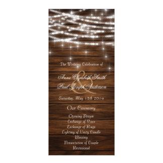 Wood string lights wedding programs rack card