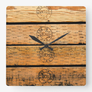 Wood Stripes Made in USA Square Wall Clock