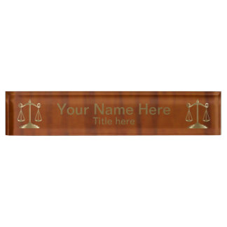 Wood Style Gold Scale of Justice Name Plate