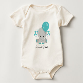Wood & Teal Elephant Gender Neutral Baby Monogram Baby Bodysuit