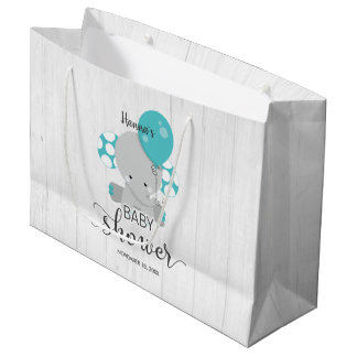 Wood & Teal Elephant Gender Neutral Baby Shower Large Gift Bag