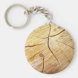 wood texture basic round button key ring