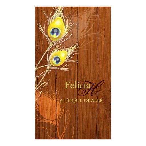 Wood Texture Monogram Antique Business Cards
