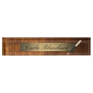 wood texture pen nameplate