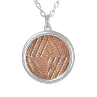 Wood Texture Silver Plated Necklace