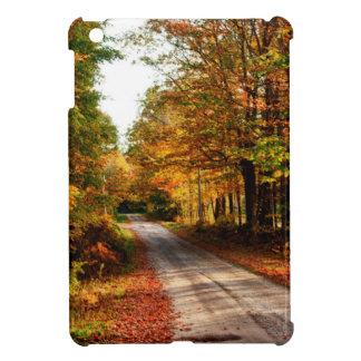 Wood trail with fall foliage iPad mini cases