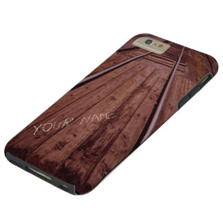 Wood train tracks monogrammed tough iPhone 6 plus case