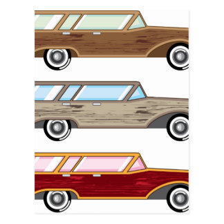 wood trim station wagon postcard