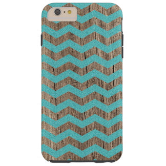 Wood turquoise chevron zig zag zigzag pattern tough iPhone 6 plus case