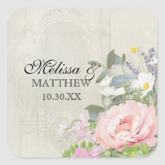 Wood Vintage Bohemian Rustic Floral Pink Peony Square Sticker
