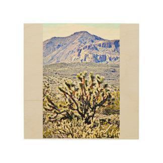 Wood Wall Art - Sonoran Mountain w/ Joshua Tree Wood Print