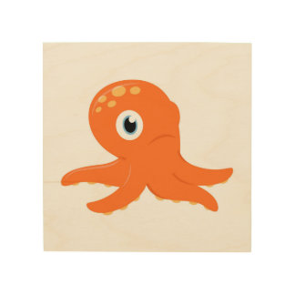 Wood wall Art with Octopus