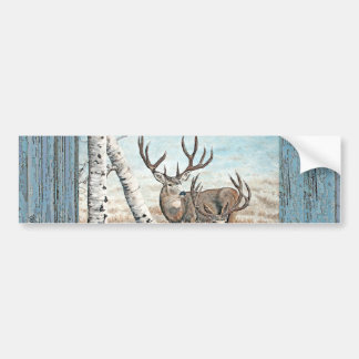 Wood wall painted bucks bumper sticker