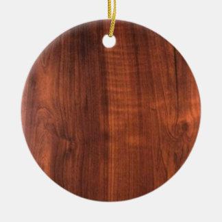 Wood WALNUT look BUY BLANK Blanc Blanche + TEXT Ceramic Ornament