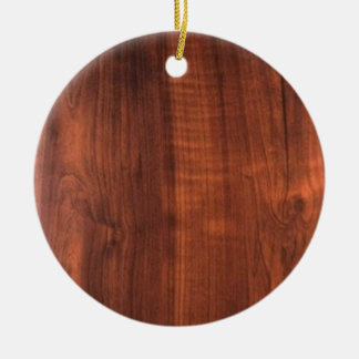 Wood WALNUT look BUY BLANK Blanc Blanche + TEXT Round Ceramic Decoration