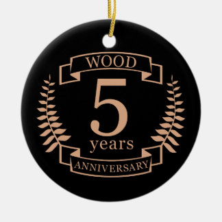 Wood wedding anniversary 5 years ceramic ornament