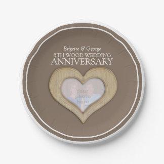 Wood wedding Anniversary photo heart paper plates