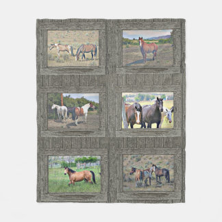 Wood window horses fleece blanket