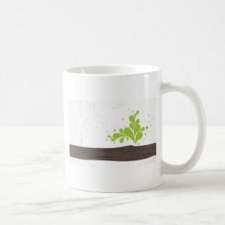 Wood with green leaf basic white mug