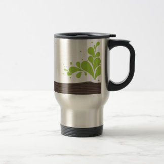Wood with green leaf stainless steel travel mug