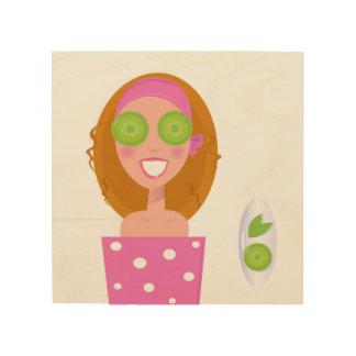 Wood with illustration / Original girl Wood Wall Art