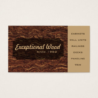 Wood Work Carpenter Brown Wavy Wood Inlay Pattern Business Card