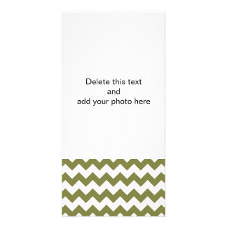 Woodbine White Chevron Pattern Custom Photo Card