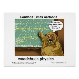 Woodchuck Physics Funny Cartoon Posters Posters