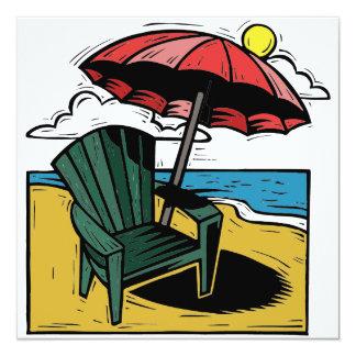 Woodcut Beach Scene with Chair & Umbrella Custom Announcement