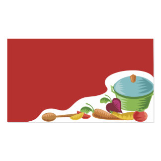 woodcut culinary cooking pot veggies business card