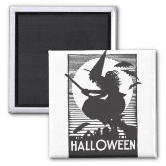 Woodcut Halloween Witch Fridge Magnets