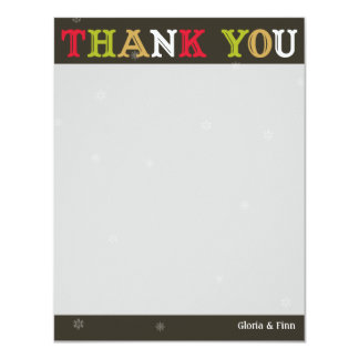 Woodcut holiday snowflake gray thank you note 11 cm x 14 cm invitation card