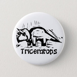 Woodcut Triceratops 6 Cm Round Badge