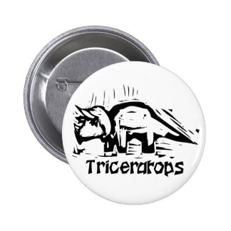 Woodcut Triceratops 6 Cm Round Badge
