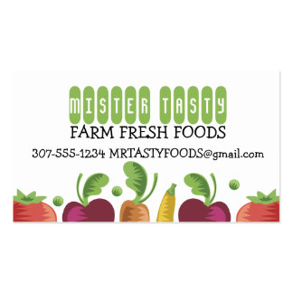 woodcut vegetables fresh food delivery catering pack of standard business cards