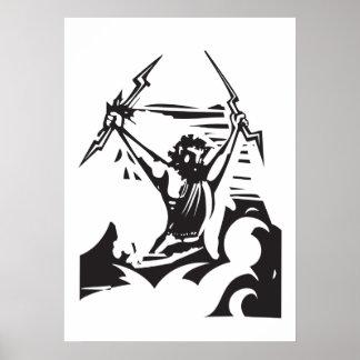 Woodcut Zeus Poster