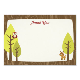 Wooded Baby Shower Flat Thank You Card