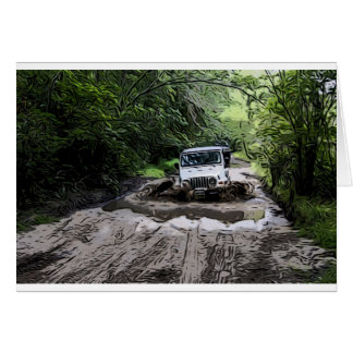 Wooded Jeep Greeting Card